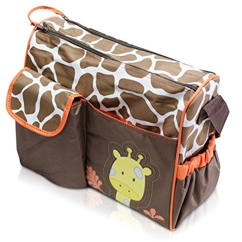 Wickeltasche mit Giraffen-Muster, braun - 4