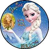 Tortenaufleger Fototorte Tortenbild Kindergeburtstag Frozen Elsa Eiskönigin F01 (Zuckerpapier) Rund 20 cm Ø mit Foto
