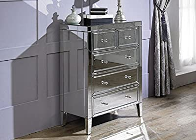 Happy Beds Valencia Mirrored 3+2 Drawer Chest Storage Unit Cabinet Furniture - inexpensive UK light store.