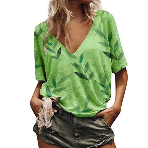 df7fc63d25eb1a Berimaterry ❤️ VêTements pour Femmes Top LâChe Les Loisirs Couleur Unie Col  en V Manches Courtes Chemise ÉTé Femme T-Shirt Grande Taille La ...