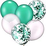 30 Stück 12 Zoll Latex Ballons Konfetti Ballon für Hochzeit Geburtstag Party Dekoration (Weiß und Grün)