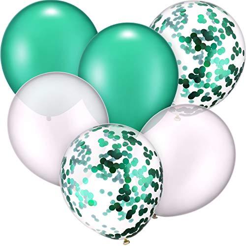 30 Stück 12 Zoll Latex Ballons Konfetti Ballon für Hochzeit Geburtstag Party Dekoration (Weiß und Grün) (Geburtstag Grüne Ballons)