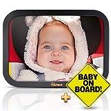 T D P 24 Autospiegel Baby - Rückspiegel Baby Auto - Bruchsicherer Rücksitzspiegel für Babys - Spiegel Auto Baby - Baby on board Schild + E-Book - Farbe Schwarz