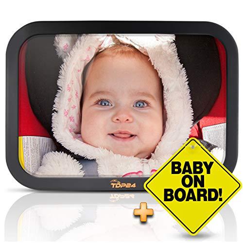 TDP24 Autospiegel Baby - Rückspiegel Baby Auto - Bruchsicherer Rücksitzspiegel für Babys - Spiegel Auto Baby - Baby on board Schild + E-Book - Farbe Schwarz
