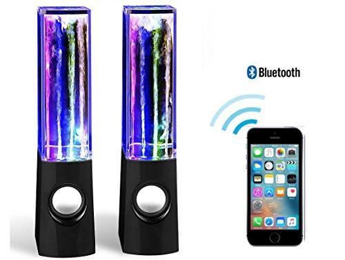 Preisvergleich Produktbild Qprods - LED Wasser Lautsprecher speaker mit 4 LED-Leuchten und Bluetooth für iPhone,  iPad,  Handy,  PC. Schwarz. 8W. 1 Jahr Garantie