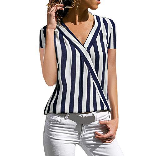 IFOUNDYOU Damen Tops T-Shirts mit V-Ausschnitt Swing Ruffle Blusen Tunika mit Knöpfen Casual Flowy Kurz Ärmel