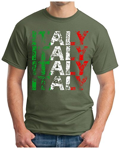 OM3 - ITALY - T-Shirt ITALIEN WM 2018 Russland Fussball World Cup Soccer Fanshirt Moskau Sport Trikot Champion, S, Oliv (World-cup-champions Italien)