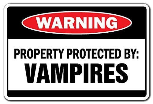 Witziges Schild Geschenk Eigentum geschützt durch Vampire Warnschild Suck Blood Fangs Scary Halloween-Schild Outdoor Metall Aluminium Schild, Dekoration