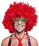 Balinco 280g XXL Afro PERÜCKE Lockenkopf Wig Black Afroperücke Lockenperücke Fasching Karneval schwarz, weiß, blond, rot, türkis, grün, pink (Rot)