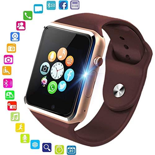 Orologio intelligente, Bluetooth Smartwatch Fitness Tracker con fotocamera SIM Card Slot Pedometro Sport Smart Watch per uomo Donna Bambino, per Android iPhone (Oro)