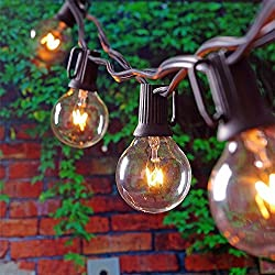 Globe Bulb String Light,kingcoo Weatherproof 25ft G40 25 Clear Bulbs String Light For Indoor Outdoor Decor Garden Patio Backyard Bedroom Wedding Christmas Party