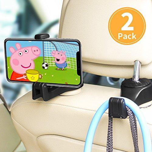 Auto-Kopfstützen-Haken,ASANMU Auto-Haken Auto-Aufhänger mit Telefon-Halter (2 Stück),Universal-Fahrzeug-Auto-Sitz-Haken-Halter
