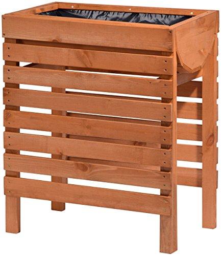 dobar Dekoratives Hochbeet aus Holz (Kiefer, braun) für Garten: Tischbeet Bausatz für Gemüse, Kräuter, Blumen, Beet Pflanzbeet für Terrasse, Balkon