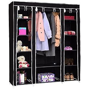COSTWAY Kleiderschrank schwarz, Stoffschrank Faltschrank Textilschrank Campingschrank Stoffkleiderschrank Faltkleiderschrank mit Kleiderstange 175x153x45cm