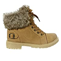 Shop Online Womens Faux Fur Ankle Boots Ladies Lace UP Collar Fur Lined Winter Warm Ladies Ankle Boot Trainer Size 3-8 (7 UK, Camel)