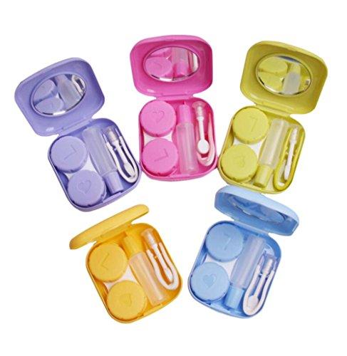Demarkt Kontaktlinsenbehälter Kontaktlinse Kasten Kontaktlinsen Reisetasche Kontaktlinsen Behälter mit Spiegel zufällige Farbe