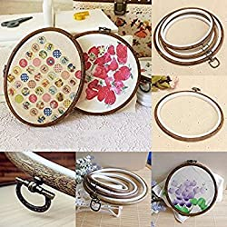Round ,15cm : Plastic&Wood Embroidery Hoop Cross Stitch Ring Sewing Tools (Round ,15cm)