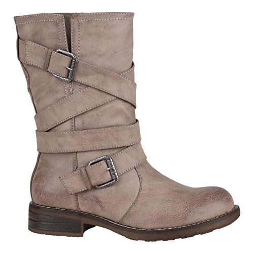 Und Mode Blog Kostüm (Damen Stiefel Biker Boots Lederoptik Outdoor Schuhe 144415 Schwarz Schnallen 39 EU |)