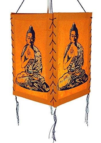 Guru-Shop Lokta Papier Hänge-Lampenschirm, Deckenleuchte aus Handgeschöpftem Papier - Buddha Orange, Lokta-Papier, 28x18x18 cm, Papierlampenschirme Quadratisch