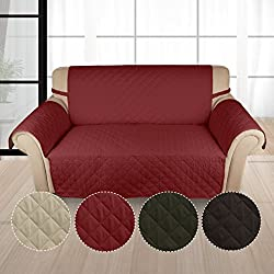 KINLO Copridivano 2-posto (167*112 CM) Vino Rosso Copripoltrona Imbottito Copertura trapuntato per sedia Matte fodera per gli animali domestici Anti-graffio antifouling divano di protezione