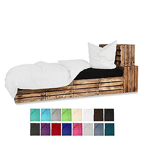 155x220 Bettwäsche Baumwolle UNI Renforce 2-4 teilig mit Reißverschluss - in 16 modernen Farben - 2 tlg. Set 1x155x220 + 1x80x80 cm Baumwolle Renforcé Bettwäsche Uni - Weiss