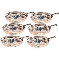Set di 6 - Prisha India Craft ® di alta qualità in acciaio fatti a mano in rame piatto da dessert e cucchiaio Set , Halwa piastra e cucchiaio Set - diam. 4,5 pollici - CHRISHTMAS DONO