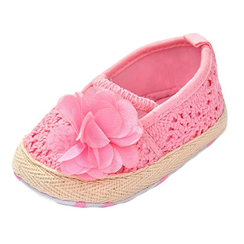 Rosa Baby Mokassins (Estamico Baby Mädchen Blumen Lauflernschuhe Sommer Weiche Sohle Sandalen Rosa 6-12 Monate)
