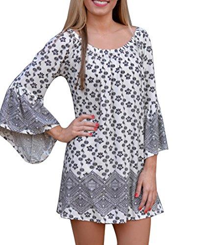 Vestito Corto Donna Hippie Etnico Stampati Senza Spalline Bohemian Chic Abiti da Spiaggia Sera Cocktail Nero Bianca11