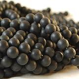 Alta calidad grado A Natural negro ágata semi-precious Gemstone cuentas redondas de...