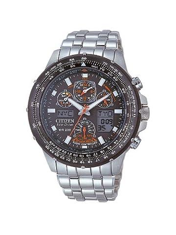 Citizen Eco Drive - JY0020-64E - Montre Homme - Quartz Analogique et Digitale - Multifonction - Chronographe - Alarme - Etanche 20 ATM - Bracelet Acier