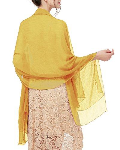 bridesmay Damen Strand Scarves Sonnenschutz Schal Sommer Tuch Stola für Kleider in 29 Farben Ginger Yellow