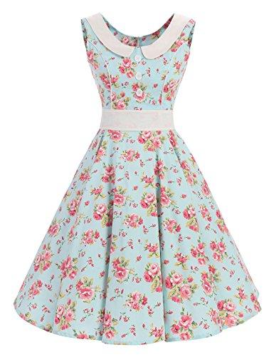 VKStar® Retro Kleider Damen 50er 60er Vintage Kleider sommer ärmellos Rockabilly Abendkleid Hellgrün (Mode Jahre Damen 60er)