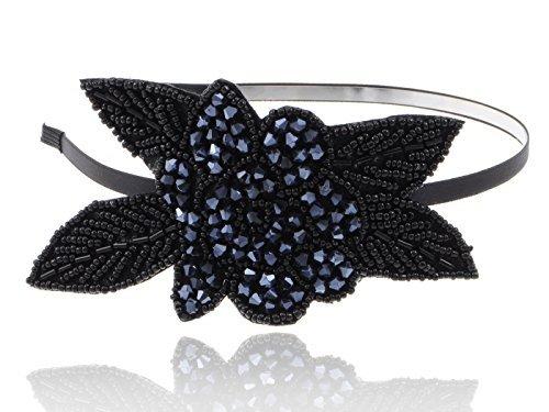 Alilang Flapper Crystal Beaded Black Blue Flower Headband