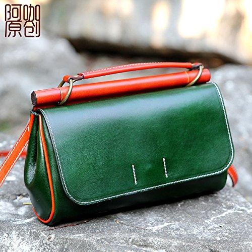 Première couche d'origine petit sac en cuir simple rétro épaule unique de loisirs-bandoulière sacoche pour portable Green