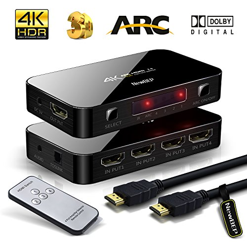 4 x 1 4 K HDMI Switch mit Audio Optical Toslink OUT – 4 Port Ultra HD 4 Kx2 K HDMI Switcher Box Selector Audio Extractor-Splitter mit IR-Fernbedienung [Unterstützung Arc | 3D 1080P] für MacBook HDTV Laptop