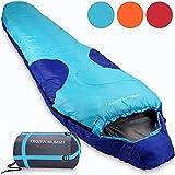 """Mountaineer Schlafsack Modell """"Frozen Mummy"""" Mumienschlafsack Deckenschalfsack - 230x82cm - bis -21°C - leicht mit Tragetasche - wasserabweisend & atmungsaktive - dunkelblau/hellblau - Farbwahl"""