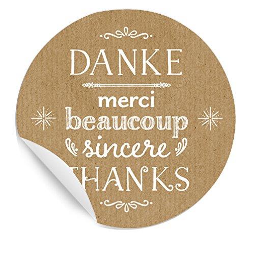 48 Aufkleber: Danke, Merci beaucoup, thanks; MATTE Papieraufkleber BEIGE für Gastgeschenke, Etiketten für Tischdeko, Weinflaschen auf der Hochzeit, etc