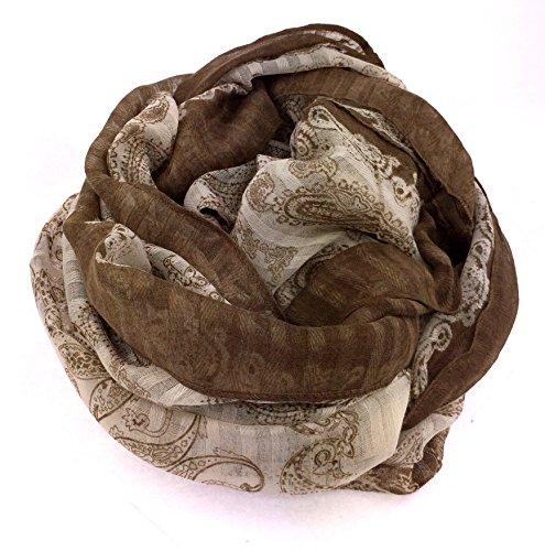 NB24 Damen Loop Schal (426), braun beige, Ornamente, Endlosschal, Damenmode, Sommerschal, Damenbekleidung, Damenschal, Tuch