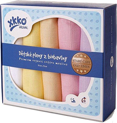 xkko Mullwindeln Muslin 70x70 cm Bio-Baumwolle 5er-Set Pastels Girl