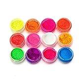 12Farben Nail Art Tipps UV Gel fluoreszierend Puder Staub Maniküre Decor DIY Werkzeug