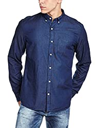 GAP Mens Indigo Twill Long Sleeve Shirt (140719700034_17859181003_L_Dark Indigo)