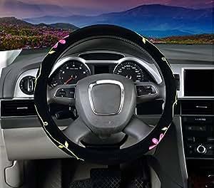Mayco Bell Signora Coprivolanti Donne Ricamo Carina Copertura del Volante dell'automobile (Fiori)