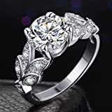 Gespout Noble Diamond Ring Elegant Crystal Rings Wedding Jewelry For Women Girlfriend