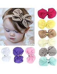 tankerstreet Sweet bebés–gasa Flor Diadema Elástica varios colores pañuelo para la cabeza lazo de pelo banda suave elástico pañuelos para bebé niñas Pack de 9