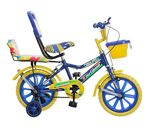 Splash From Outdoor® Bikes 14 Inches Bicycle For 3 to 5 Years Kids With Double Seat (ASSEMBLY REQUIRED) (Blue Yellow)