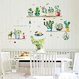 UNER Cactus Creative Stickers Amovible Plantes Vertes Wall Sticker Stickers Cartoon Papiers Peints Affiches Bricolage Art Stickers muraux Autocollant Sticker Muraux pour Maison