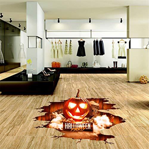 EWQHD Red Flame Kürbis-Laterne Halloween 3D Sticker Deco Art Pvc-Boden-Wand-Aufkleber Feiertags-Dekoration
