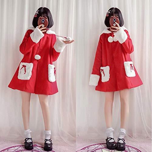 Weihnachts Mädchen Kostüm Niedlichen - QAQBDBCKL Weiche Schwester Stil Niedlichen Lolita Retro Mädchen Lolita Plüsch Mantel Mantel Weihnachten Kostüm