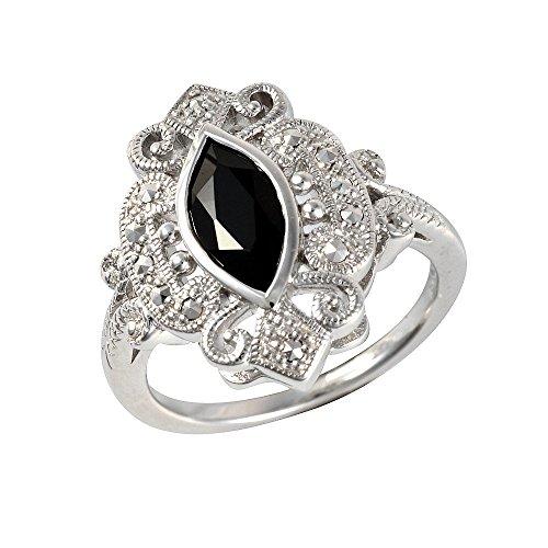 Esse Marcasite Ring Sterling Silber rhodiniert schwarz Spinell und Markasit Viktorianischen Kleid Größe–P