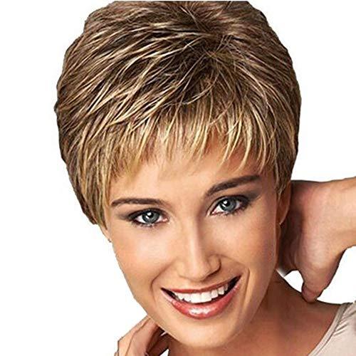 Tonsee Frauen Perücken Kurze Wellig Gerade mit Farbverlauf Haar Mode Gewellte Natürlichen Perücke Haarersatz für Damen Party Cosplay, Friseurladen, Salon Perücken Fasching Kostüm 26cm (Mehrfarbig)